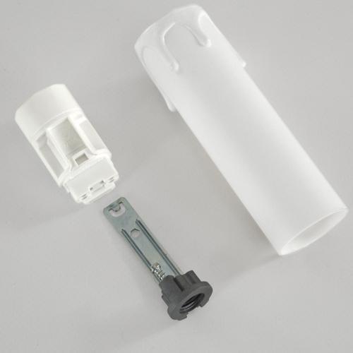 Portalampada a candela 100 mm completo con nippel - staffa -  anima e guscio bianco