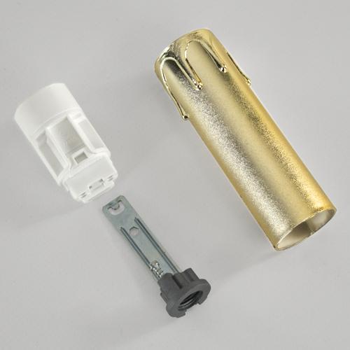 Portalampada a candela 100 mm completo con nippel - staffa -  anima e guscio oro