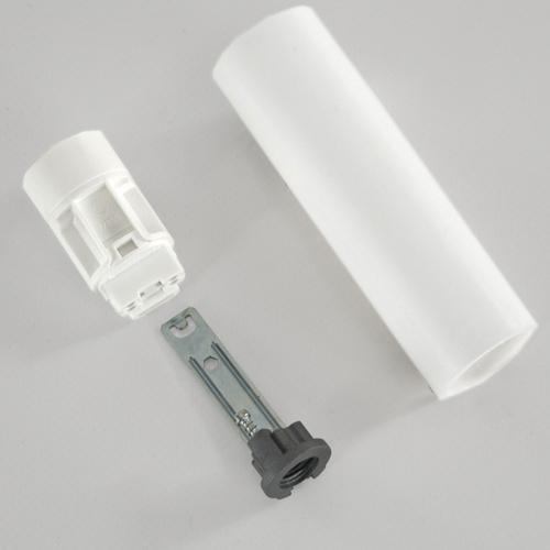 Portalampada E14 bianco liscio 100 mm completo con nippel - staffa e anima