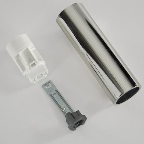 Portalampada E14 cromo liscio 100 mm completo con nippel - staffa e anima