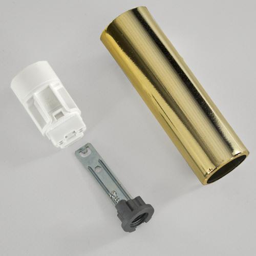 Portalampada E14 oro liscio 85 mm completo con  nippel - staffa e anima