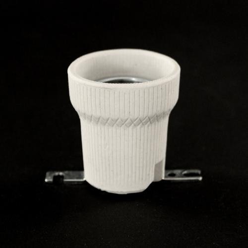 Portalampada E27 in ceramica con staffa dritta