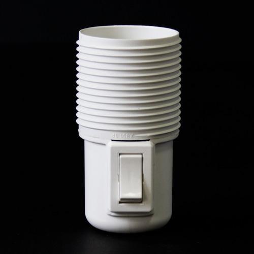 Portalampada filettato bianco in plastica E27 con interruttore on/off
