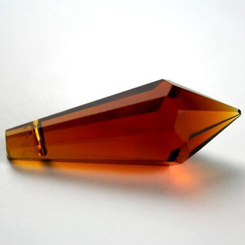 Prisma pendente 38 mm ambra caldo, vetro cristallo sfaccettato molato
