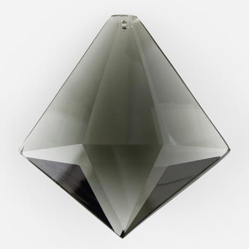Prisma sfaccettato in puro cristallo di Boemia 75 mm. Cristallo forma romboidale colore grigio scuro.