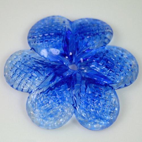 Rosellina a fiore in vetro di Murano colore blue fatto a mano Ø50 mm con foro centrale