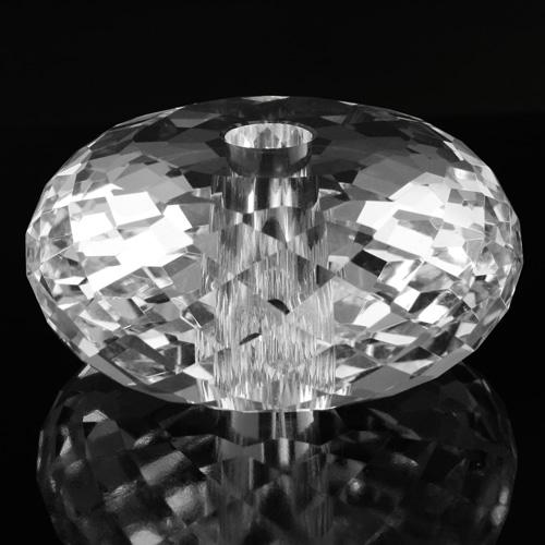 Sfera schiacciata in cristallo molato e sfaccettato colore puro Ø85 mm h40 mm foro Ø14 mm passante