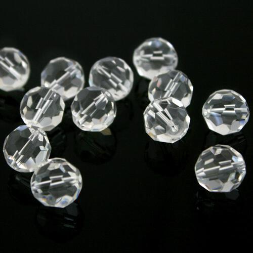 Sfera sfaccettata Ø 16 mm foro passante, cristallo vetro molato