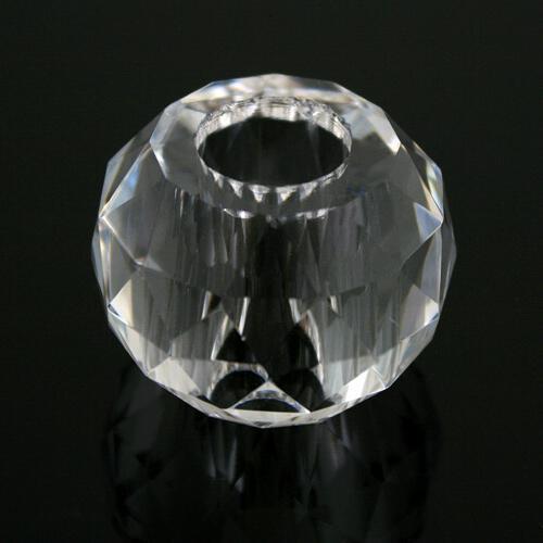 Sfera strass cristallo molato e sfaccettato colore puro Ø 40 mm, h 30 mm, foro Ø 17 mm, doppio foro