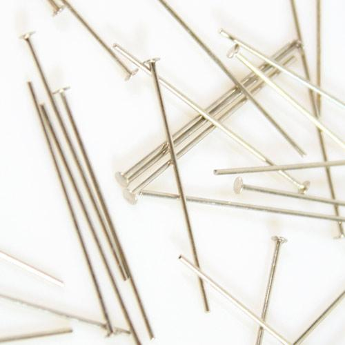 Spillo a chiodo nickelato 30 mm per cristalli e perle filo 0,7 mm