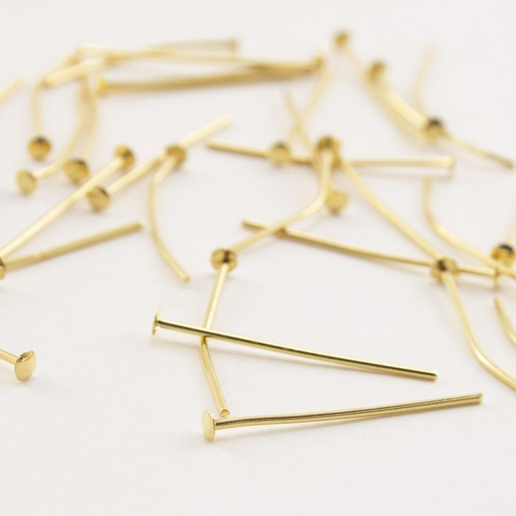Spillo a chiodo oro 25 mm per cristalli e perle filo 0,7 mm