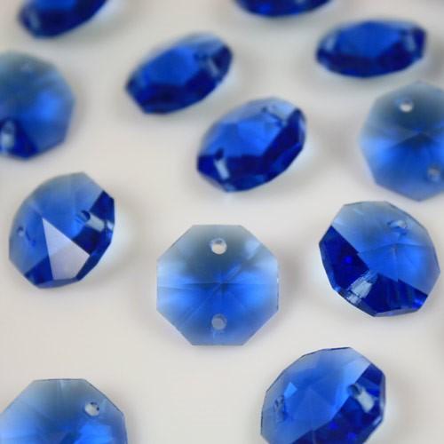 Ottagono 14 mm blu zaffiro vetro cristallo molato 16 facce 2 fori.