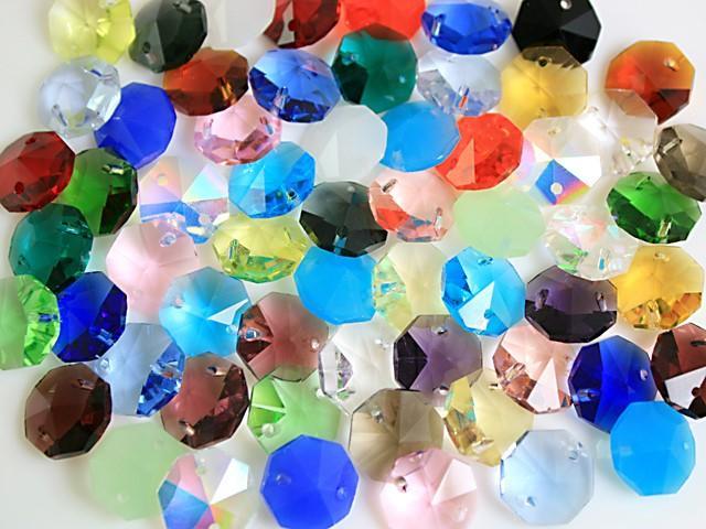 Ottagono 14 mm blu cobalto vetro cristallo molato 16 facce 2 fori.