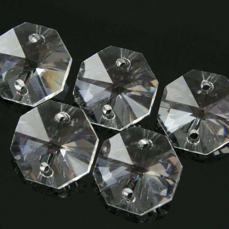 Ottagono 14 mm trasparente puro cristallo vetro molato 2 fori 16 facce