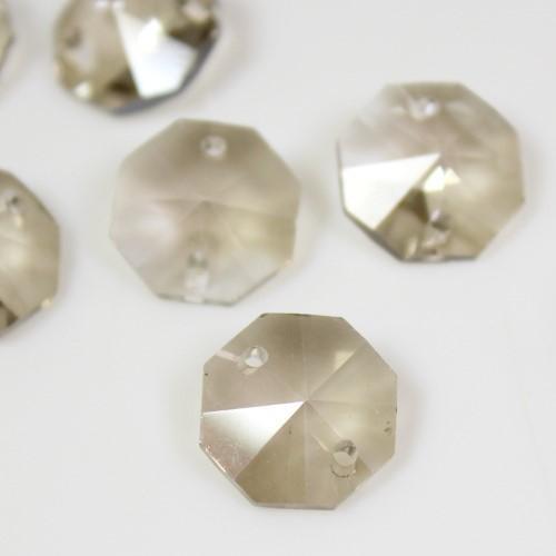 Ottagono 14 mm fumè vetro cristallo molato 16 facce 2 fori.