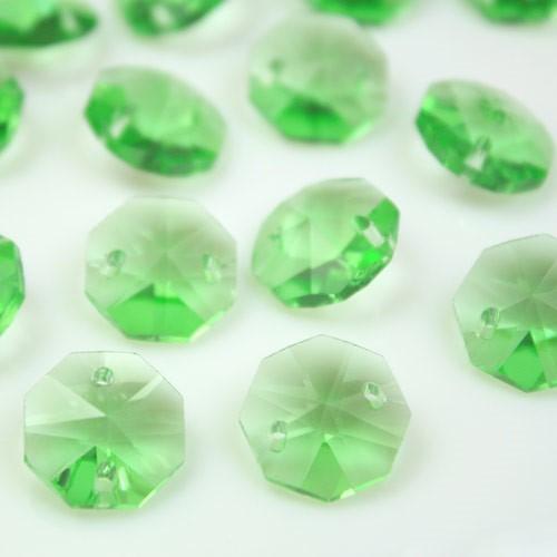 Ottagono 14 mm verde chiaro vetro cristallo molato 16 facce 2 fori.