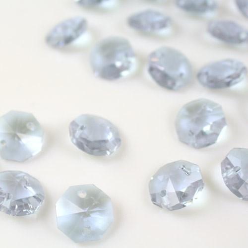 Ottagono 14 mm viola alessandrite vetro cristallo molato 16 facce 2 fori.