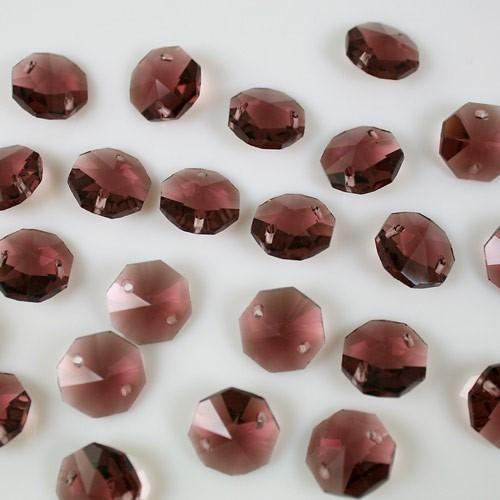 Ottagono 14 mm ametista chiaro vetro cristallo molato 16 facce 2 fori.