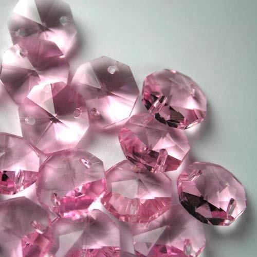 Ottagono 14 mm rosa vetro cristallo molato 16 facce 2 fori.