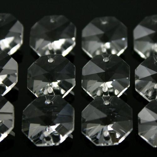 Ottagono 16 mm trasparente puro cristallo vetro molato 2 fori 16 facce