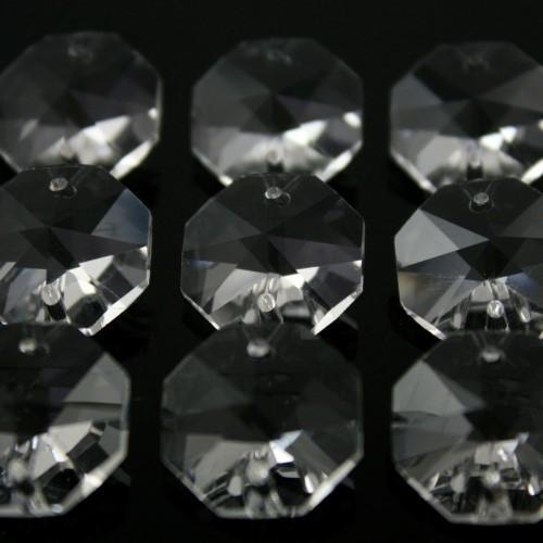 Ottagono 18 mm trasparente puro cristallo vetro molato 2 fori 16 facce