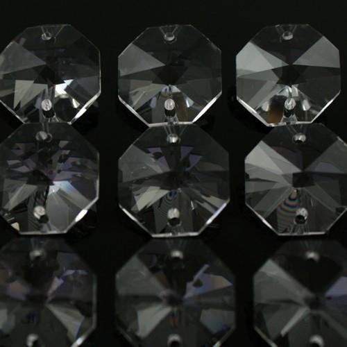 Ottagono 20 mm trasparente puro cristallo vetro molato 2 fori 16 facce