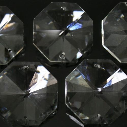 Ottagono 28 mm trasparente puro cristallo vetro molato 2 fori 16 facce