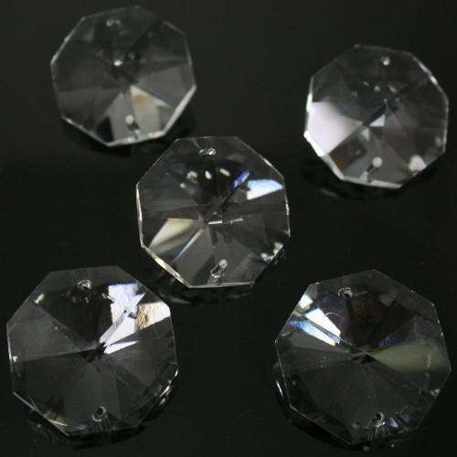 Ottagono 30 mm trasparente puro cristallo vetro molato 2 fori 16 facce