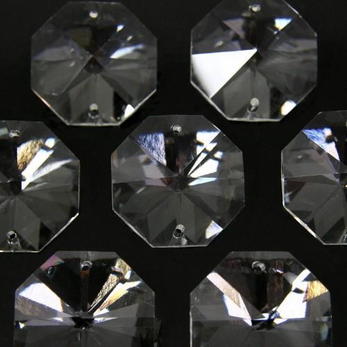 Ottagono 32 mm trasparente puro cristallo vetro molato 2 fori 16 facce