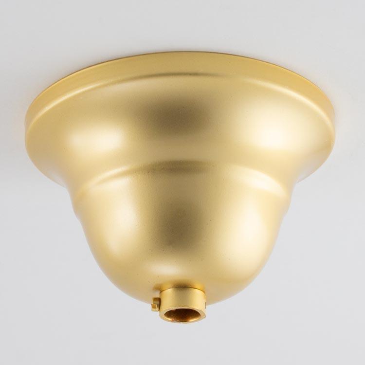 Rosone copri cavi per lampadari, metallo finitura oro laccato Ø9 cm, con collarino.