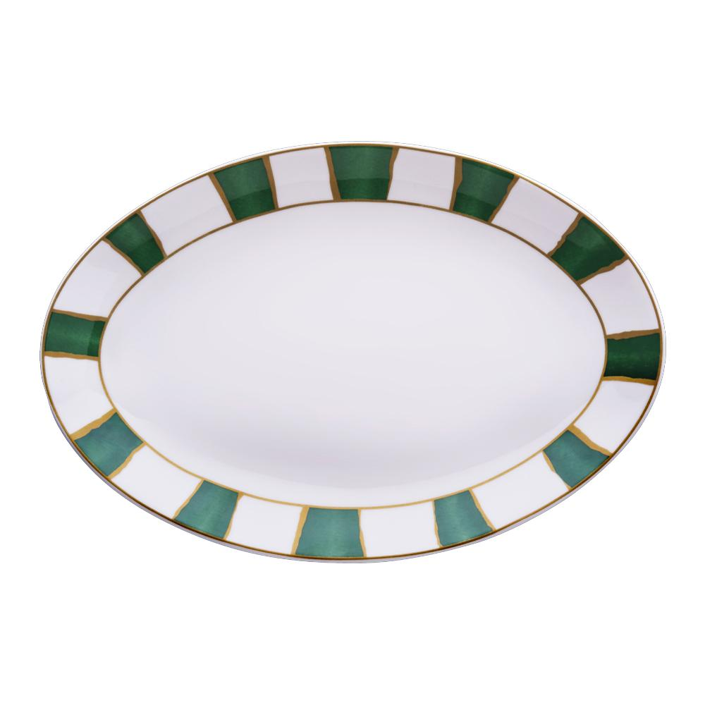 Piatto ovale cm 36 | Striche Verdi e Oro