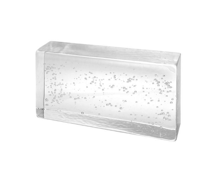 Blocco mattone in vetro di Murano trasparente con effetto bolle interne.