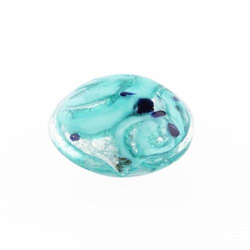 Perla di Murano schissa Medusa Ø14. Vetro verde marino, foglia argento e avventurina. Foro passante.