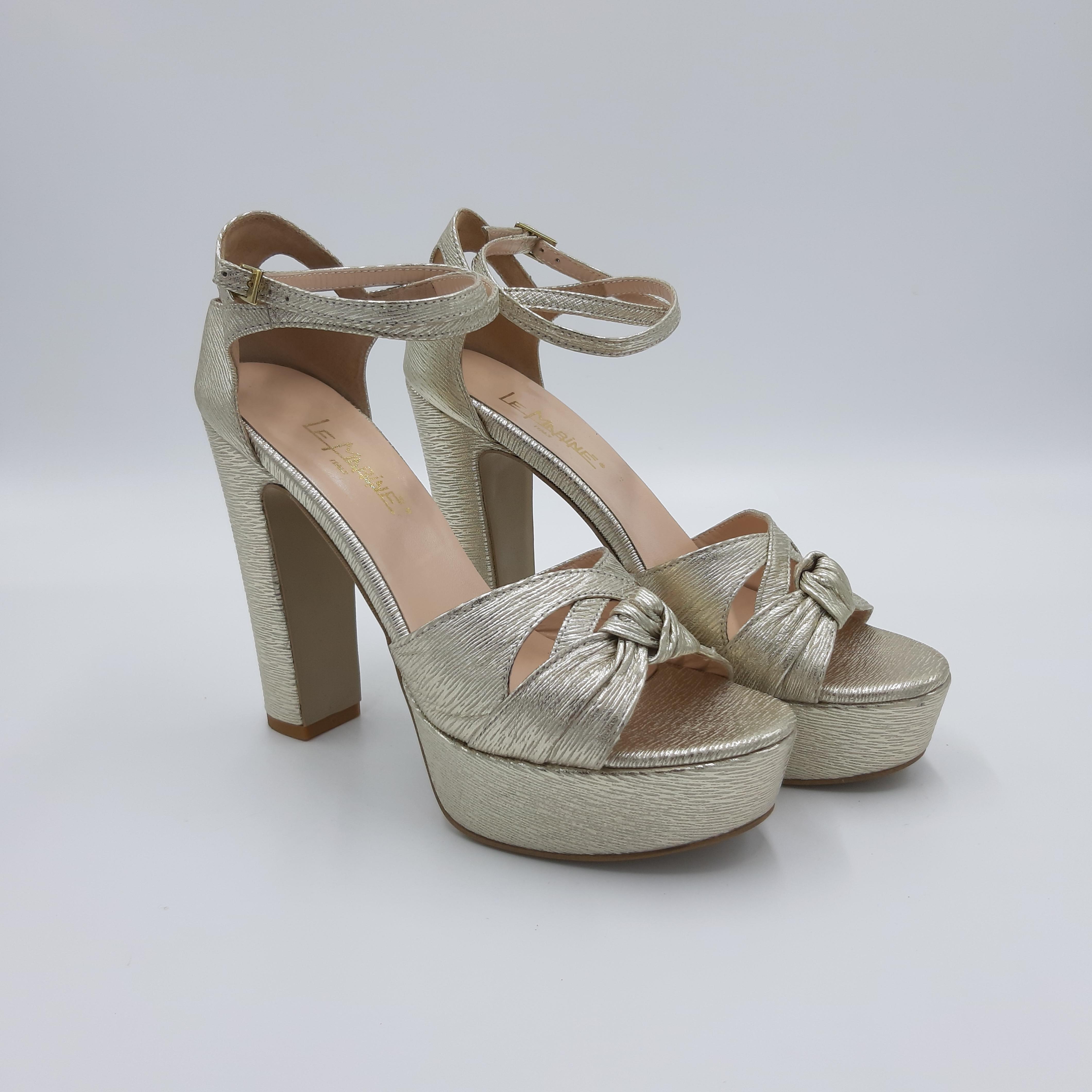 Sandalo tacco plateau platino Le Marinè