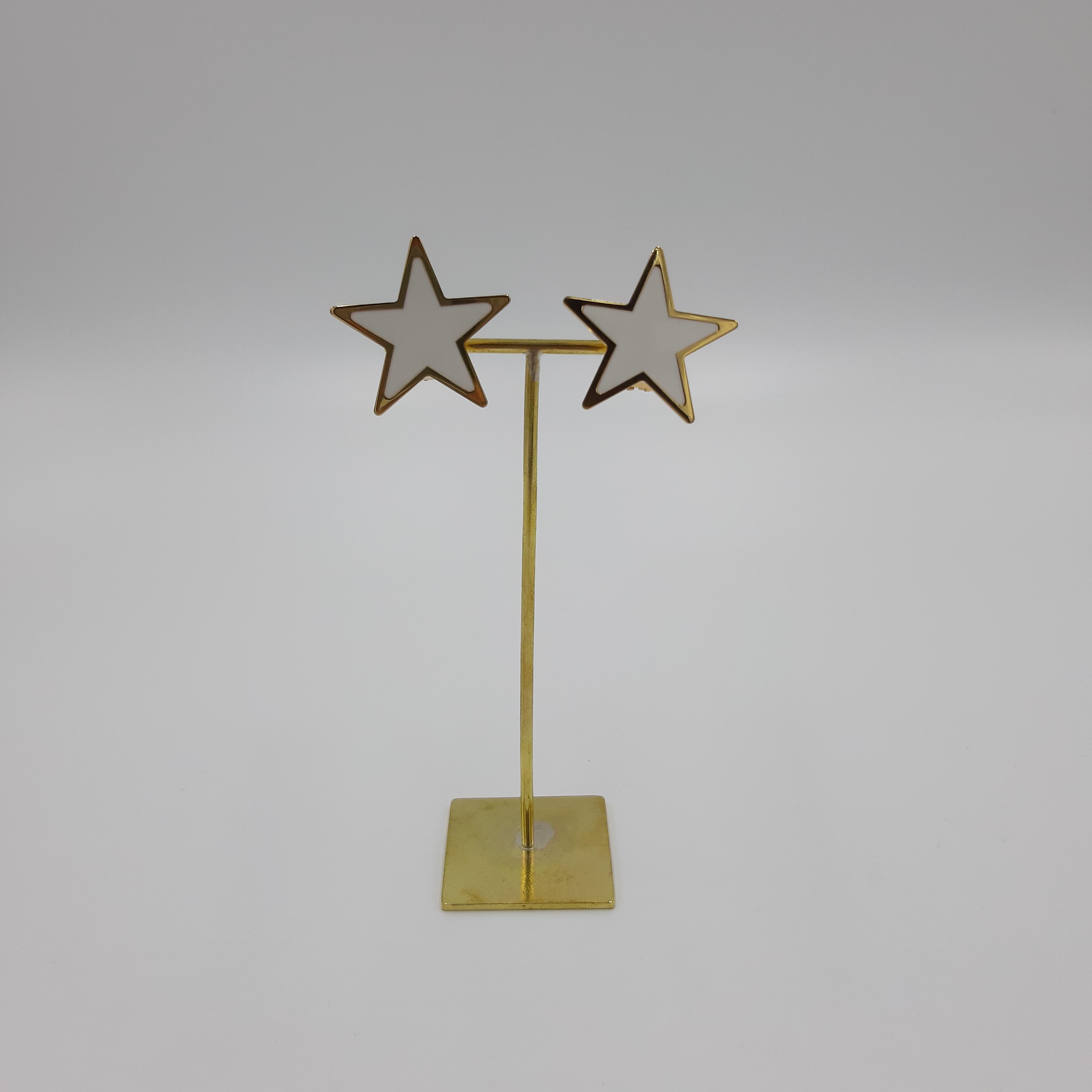 Orecchini stella grandi bianchi Francesca Bianchi Design