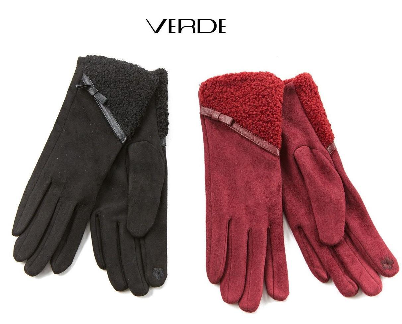 Ladies' gloves bordeaux and black | Online sale