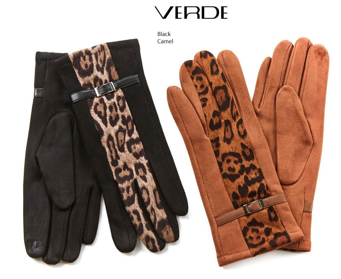 Women's spotted gloves with animal print touch screen