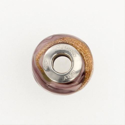 Perla di Murano stile Pandora Fenicio Ø13. Vetro bianco, rosa e avventurina. Borchia argento 925. Foro passante.