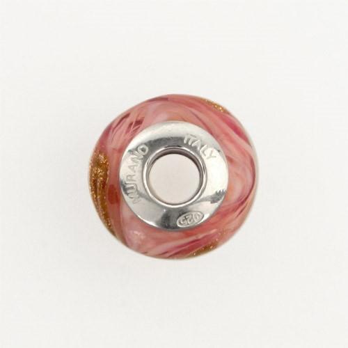 Perla di Murano stile Pandora Fenicio Ø13. Vetro rubino, rosa e avventurina. Borchia argento 925. Foro passante.