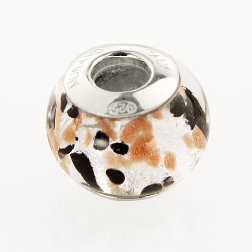 Perla di Murano stile Pandora Graniglia Ø13. Vetro nero, avventurina, foglia argento. Borchia argento 925. Foro passante.