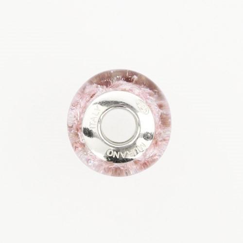 Perla di Murano stile Pandora Graniglia Ø13. Vetro rosa, foglia argento. Borchia argento 925. Foro passante.