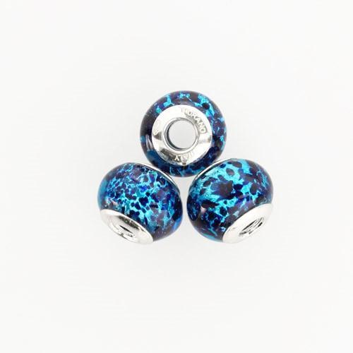 Perla di Murano stile Pandora Sommersa Ø13. Vetro turchese, avventurina blu, foglia argento. Borchia argento 925. Foro passante.