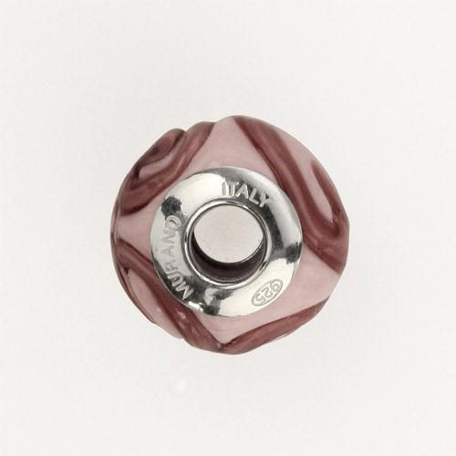 Perla di Murano stile Pandora Vortice Ø13. Vetro rosa. Borchia argento 925. Foro passante.