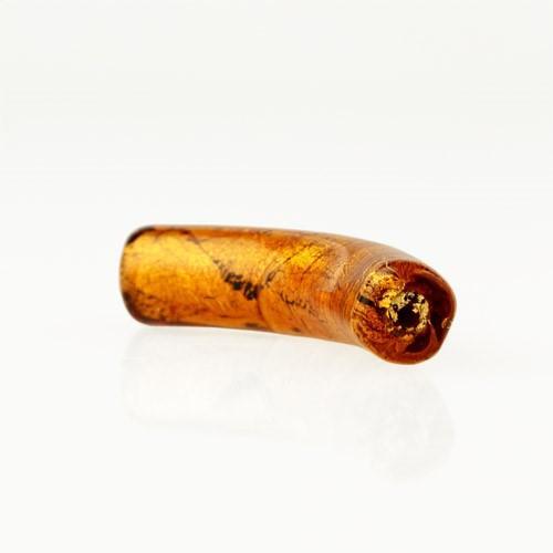 Perla di Murano tubo curvo Sommerso Ø8x40. Vetro topazio, foglia oro. Foro passante.