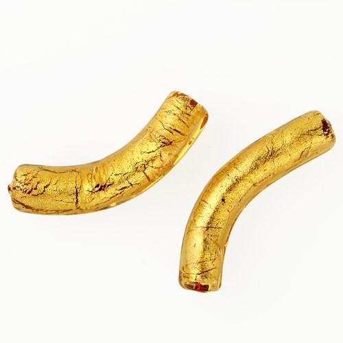 Perla di Murano tubo curvo Sommerso Ø8x40. Vetro ambra, foglia oro. Foro passante.