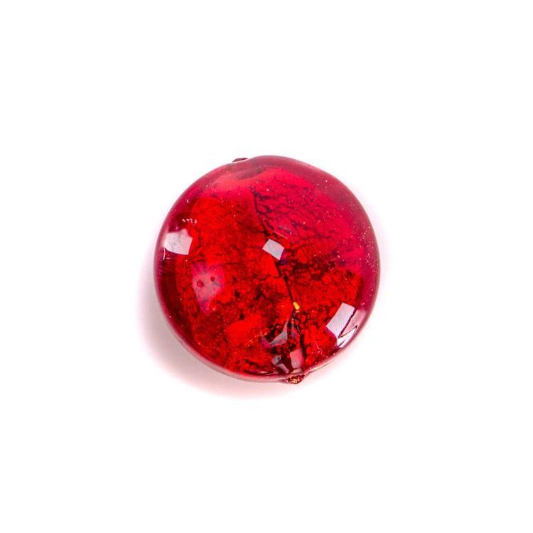 Perla di Murano schissa Sommersa Ø14. Vetro rosso e foglia oro. Foro passante.