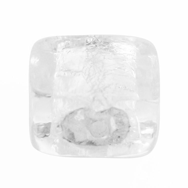 Perla di Murano schissa quadrata Ø12. Vetro sommerso trasparente, foglia argento. Foro passante.
