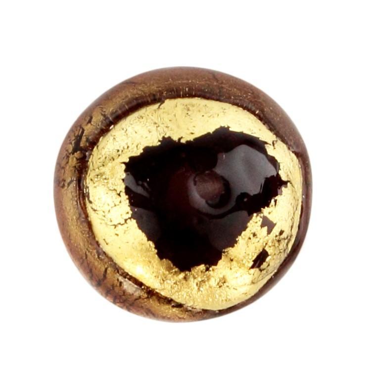 Perla di Murano tonda Sommersa Ø16. Vetro ametista chiaro e scuro, foglia oro. Foro passante.