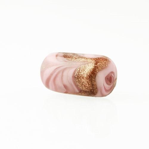 Perla di Murano cilindro Fenicio Ø9x18. Vetro bianco, rosa e avventurina. Foro passante.