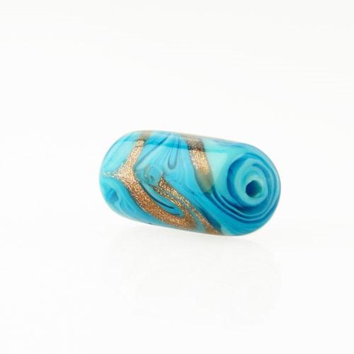 Perla di Murano cilindro Fenicio Ø9x18. Vetro bianco, turchese e avventurina. Foro passante.